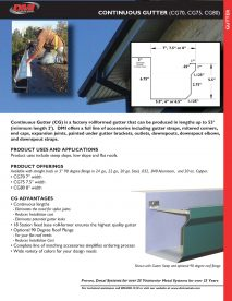 Continuous Gutter Cut Sheet