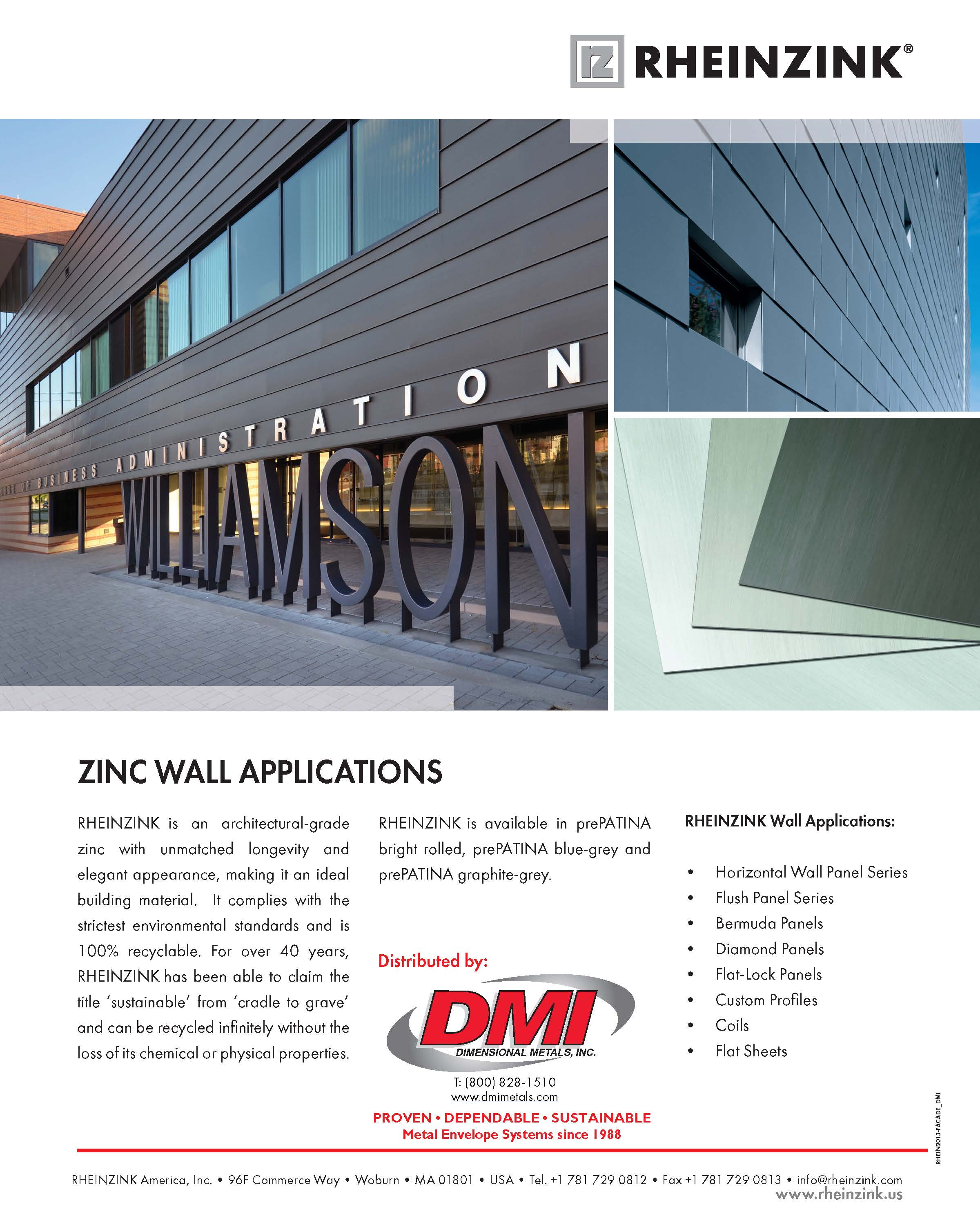 DMI Rheinzink Wall Panel Sheet